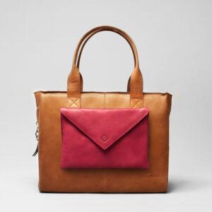 Envelop Clutch Red-City Bag Tan