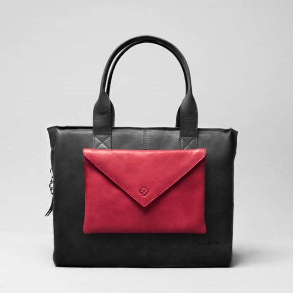 Envelop Clutch Red-City Bag Waxy Black