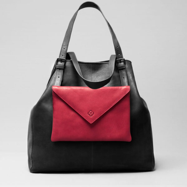 Envelop Clutch Red-Doppio Dark Black Matt
