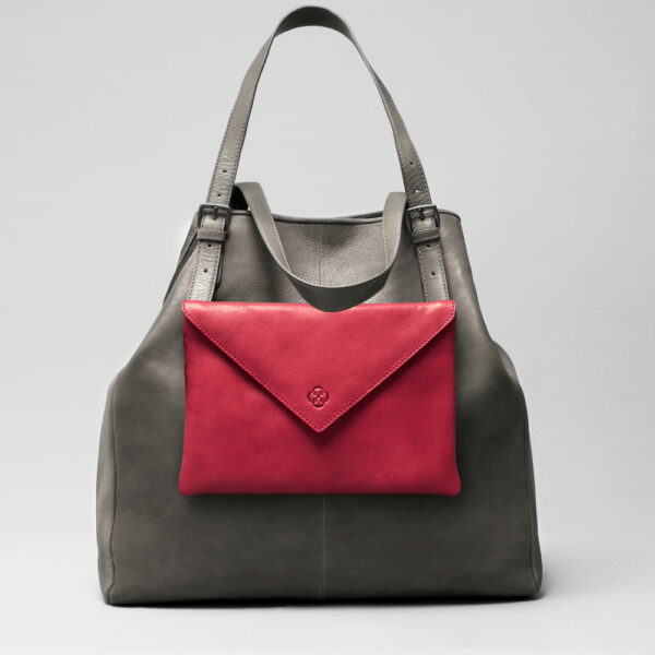 Envelop Clutch Red-Doppio Dark Dark Grey