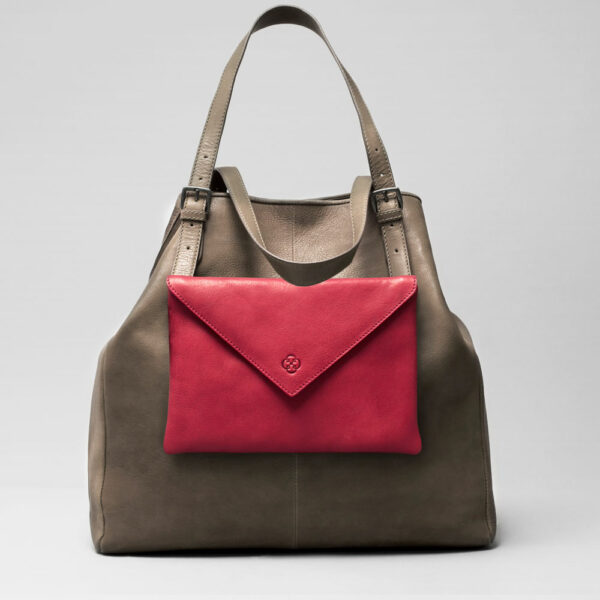 Envelop Clutch Red-Doppio Dark Elephant Grey
