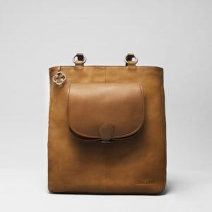 Round Flap Bag Blond - Back Shopper Camel