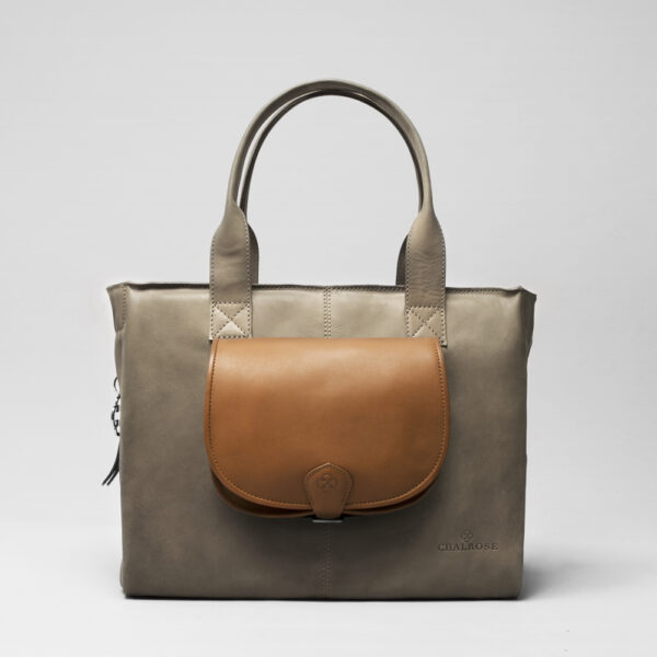 Round Flap Bag Blond - City Bag Elephant Grey