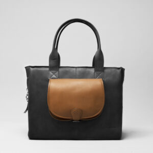 Round Flap Bag Blond - City Bag Waxy Black