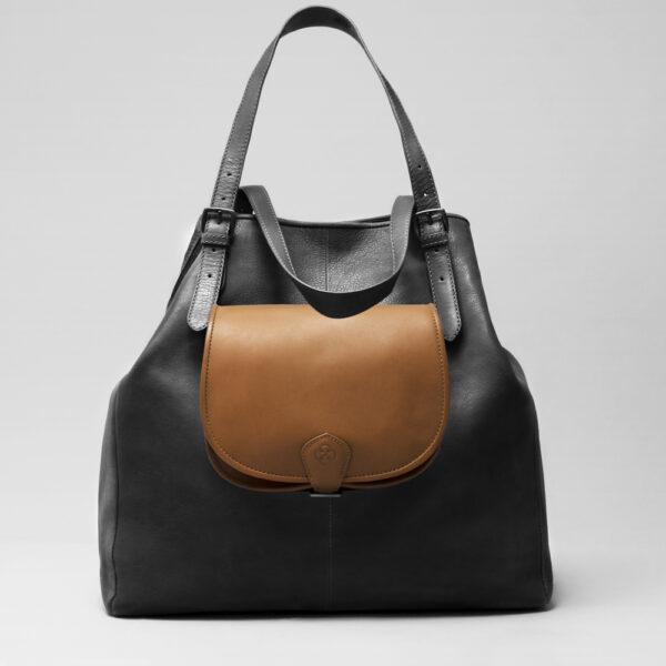 Round Flap Bag Blond - Doppio Black Matt