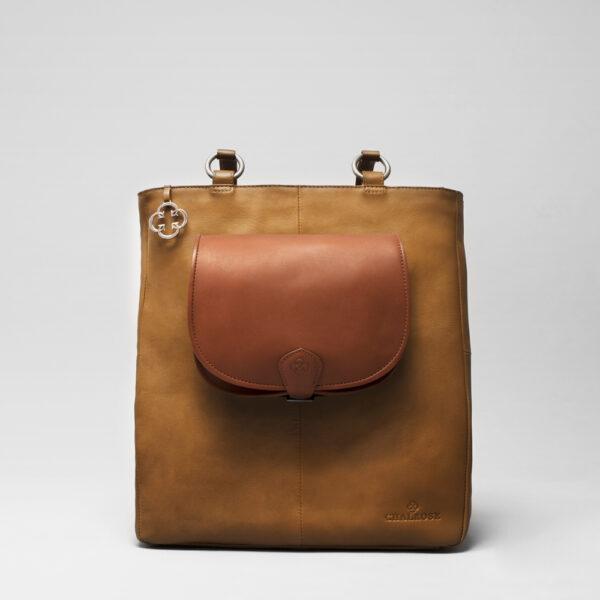 Round Flap Bag Cognac - Back Shopper Camel