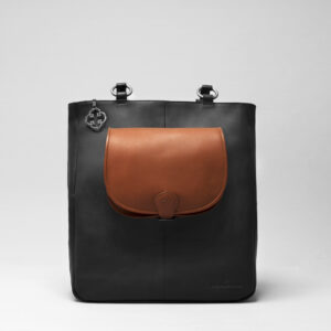 Round Flap Bag Cognac - Back Shopper Waxy Black