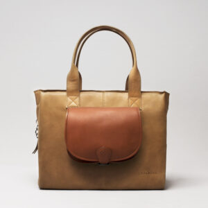 Round Flap Bag Cognac - City Bag Camel
