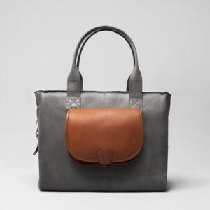 Round Flap Bag Cognac - City Bag Dark Grey