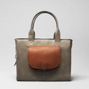 Round Flap Bag Cognac - City Bag Elephant Grey