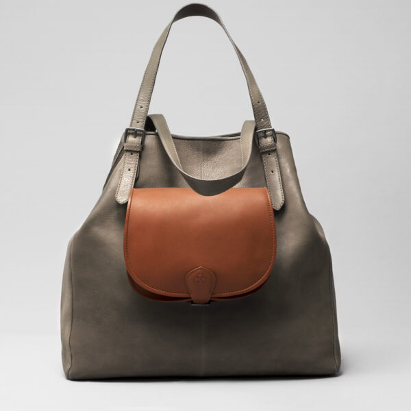 Round Flap Bag Cognac - Doppio Elephant Grey