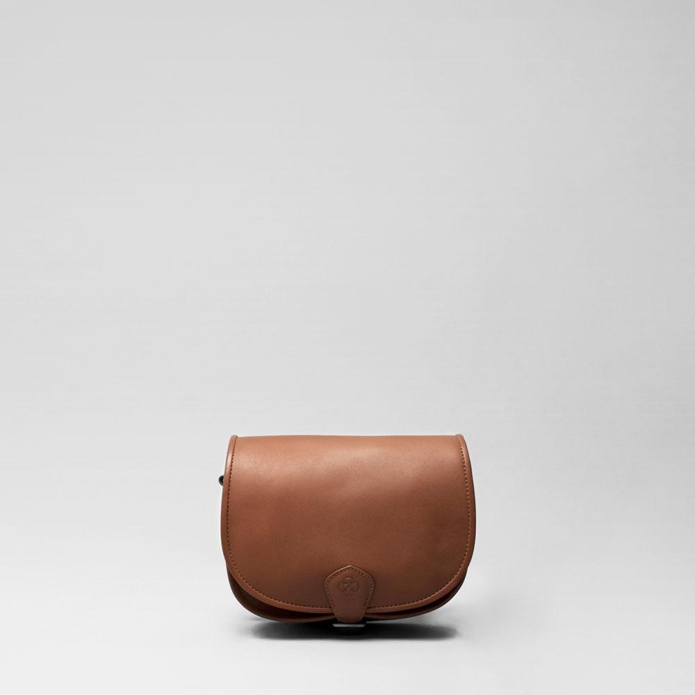 Round Flap Bag Cognac