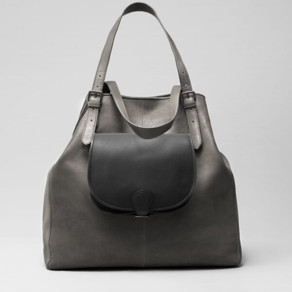 Round Flap Bag Waxy Black - Doppio Dark Grey