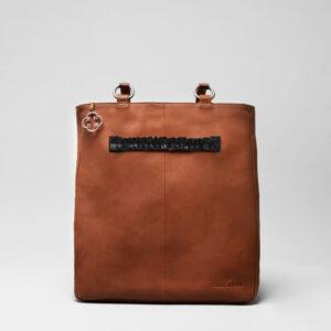 Ruffle Click Black-Back Shopper Cognac