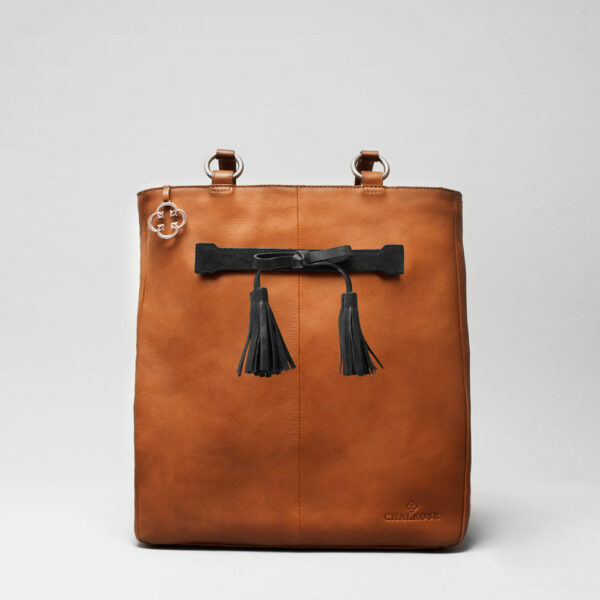 Tassel Bow Black - Back Shopper Tan