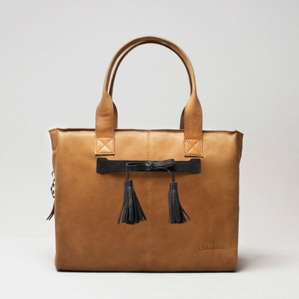 Tassel Bow Black - City Bag Camel