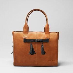 Tassel Bow Black - City Bag Tan