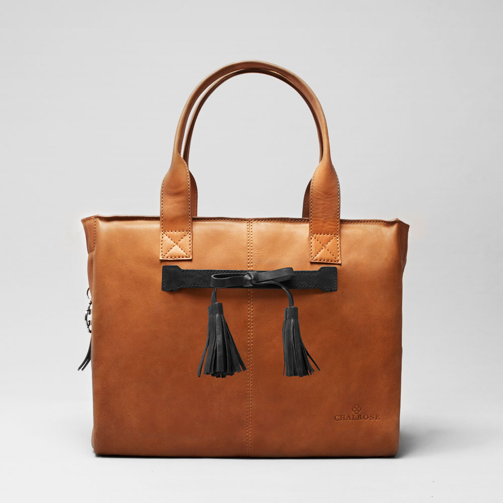 Tassel Bow Black City Bag Tan