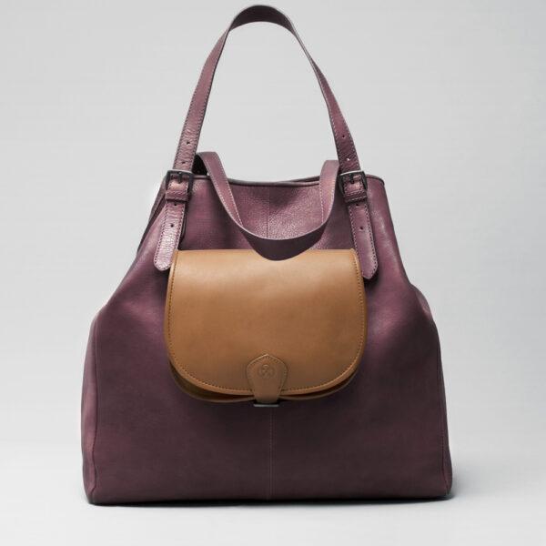 chalrose-round-flap-bag-blond-doppio-bordeaux