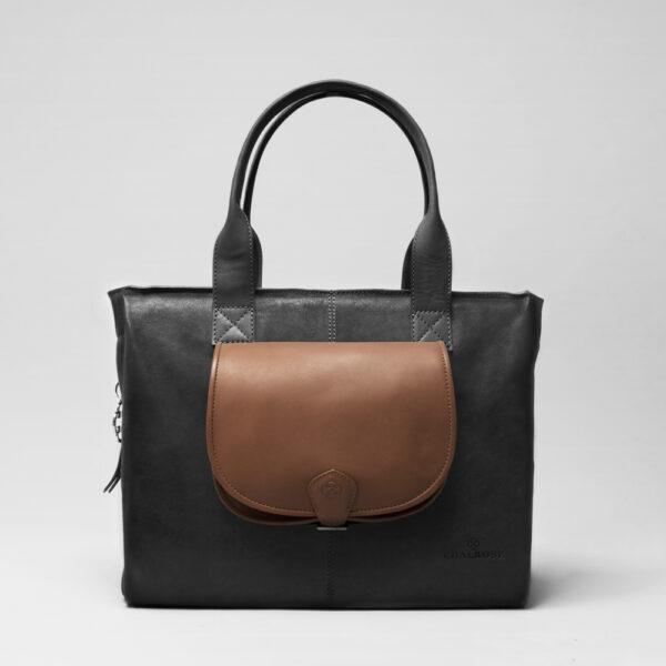 chalrose-round-flap-bag-cognac-city-bag-black-matt