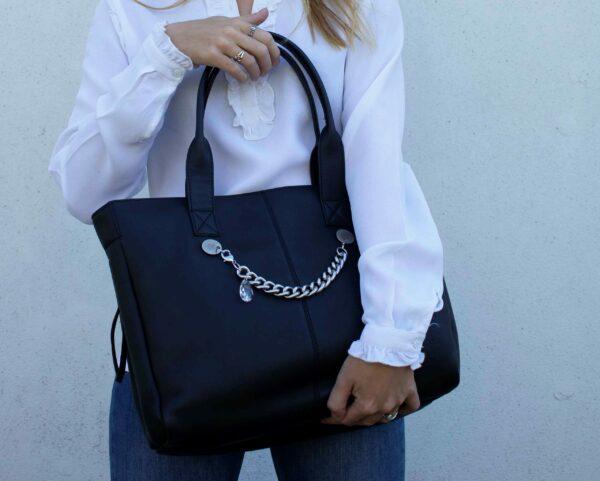 chalrose-city-bag-black-bracelet-silver
