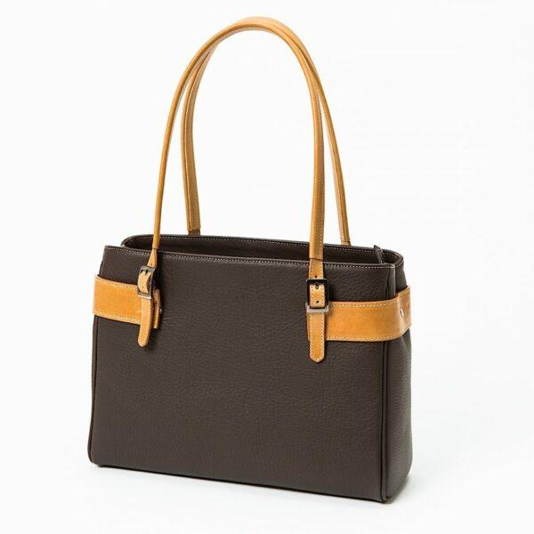 chalrose-medium-bag-dark-brown-hengsel-yellow