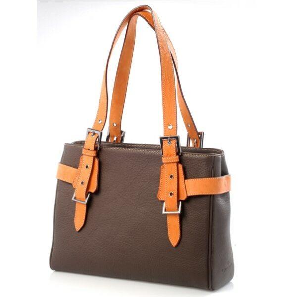 chalrose-medium-bag-bruin-hengsel-oranje