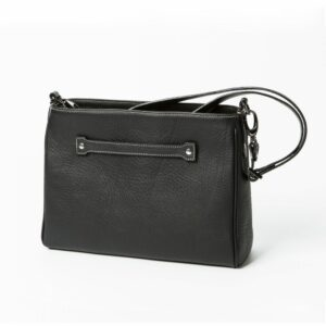 chalrose-medium-bag-zwart zwarte leren tas