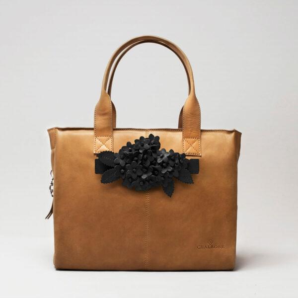 chalrose-click-bouquet-black-matt-city-bag-camel