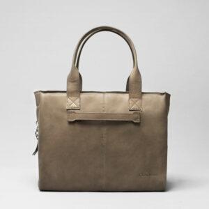 chalrose-city-bag- Leren schoudertas taupe
