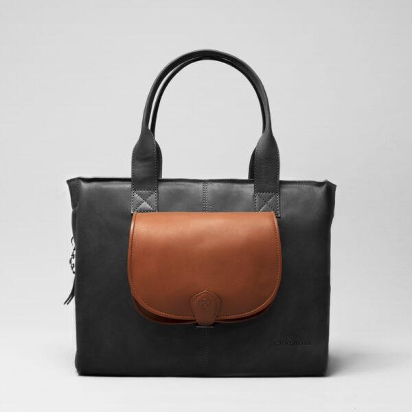 chalrose-flap-bag-cognac-city-bag-waxy-black